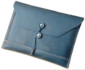 Cow Leather File Case Folder Pocket Messenger Bag Briefcase Customize Blue Z619
