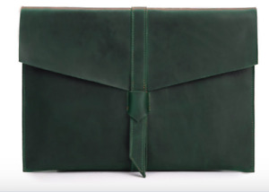 Cow Leather File Folder Pocket Case Messenger Bag Briefcase Handmade Green Z624