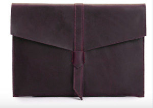 Cow Leather File Folder Pocket Case Messenger Bag Briefcase Handmade Purple Z624