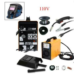 Mig 130 Welder Flux Core Wire Automatic Feed Welding Machine W Helmet Free Mask