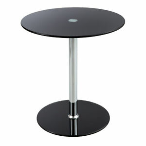 Safco Modern Tempered Glass Steel Base Chrome Pedestal Accent End Table