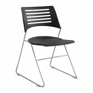 Safco Pique Black Plastic Seat Back Silver Powder Coat Frame Chair qty 4