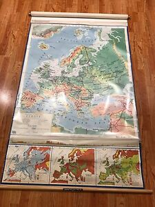 Vintage Mid Century Nystrom Europe Political Pull Down Map Overlays 1965 Ussr
