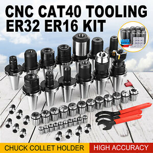New Cat40 Tooling Package Fit Haas Er32 Er16 Collet End Mill Holder Drill Chuck