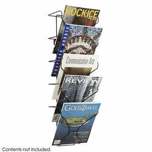Literature Organizer Black Wire Magazine Rack With 5 Pocket Wall Display