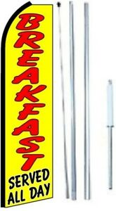 Breakfast Served All Day Swooper Flag With Complete Hybrid Pole Set