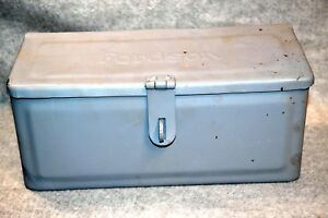 Vintage Fordson Tractor Mountable Metal Tool Box W embossed Logo Solid