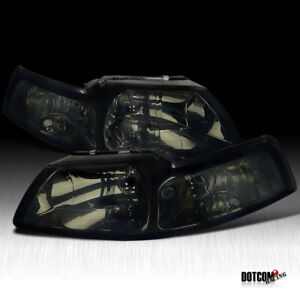 For 1999 2004 Ford Mustang Smoke Lens Headlights Head Lights Lamps Left right