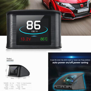 Lcd Car Hud On board Computer Speedometer Warning Coolant Temperature Gauge Obd2