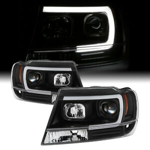 For 99 04 Jeep Grand Cherokee Black Projector Headlight c shape Neon Tube Led