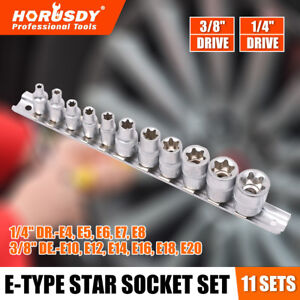11 Pc Torx Star Bit External Female E Socket Set Automotive Shop Tools With Rail