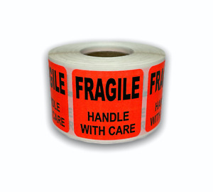 1 Roll 1 5x1 5 Br red Fragile Handle W Care Shipping Stickers 500 Labels