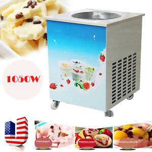 Us 1050w Single Round Pan Fried Ice Cream Roll Machine Milk Yogurt Maker Machine