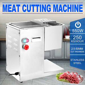 250kg hour Stainless Steel Meat Cutting Machine 3mm Blade Commercial Slicing