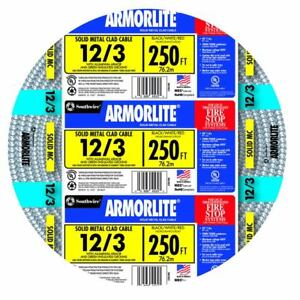 Southwire 68583455 Armorlite 250 ft 12 3 Solid Aluminum Mc Cable New Fsh