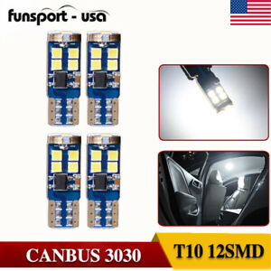 4xcanbus Error Free 3030 Chips Led 12 Smd Wedge Light Bulb W5w 168 194 For Truck