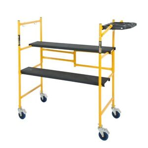 Rolling Scaffold Adjustable Ladder Platform Work Bench Indoor Folding Steel New