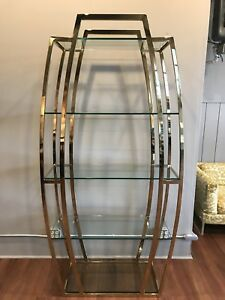 Vintage Brass And Glass Etagere 5 Shelf Mid Century