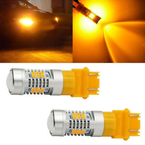 2pcs Amber Yellow 3157 3156 21 Smd Led Turn Signal Parking Stop Light Bulbs 4157