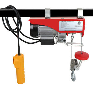 440 Lb Electric Cable Hoist Crane Lift Garage Auto Shop Winch W remote 110v