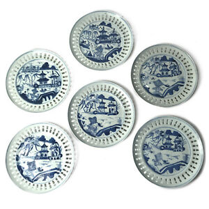 Set Of Six 6 Chinese Blue And White Canton Porcelain Plates Pierced Border