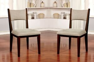 Mid-Century Modern Padded Upholstery Fabric Chairs Dining Side Chairs 2pc Set