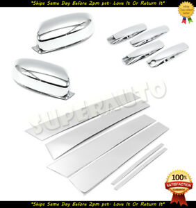 For 2011 2020 Dodge charger Chrome Top Half Mirror 4dr Handle pillar Covers Trim