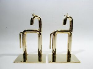 Walter Von Nessen Streamline Moderne Pair Chase Brass Horse Bookends Art Deco