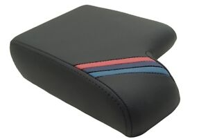 Center Console Armrest Leather Synthetic For Bmw E36 92 99 M Style Stripes