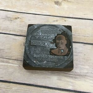 Vintage Printing Plate Wood Block Wisconsin 1930 Democratic Primary 4th Ward