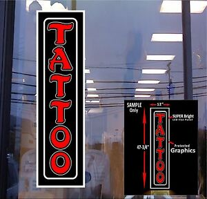 Led Sign Tattoo Red 48x12 Window Sign New Generation Leds
