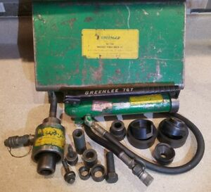 Free Ship Greenlee 7306 Hydraulic Knockout Punch Driver Set W Punches