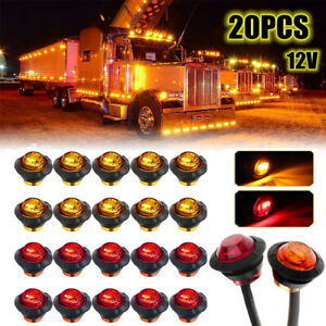 20pack 3 4 Red Amber Bullet Side Marker Led Light Trailer Truck Round Clearance