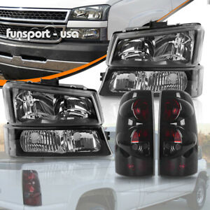 For 2003 2006 Chevy Silverado 1500 2500 2500hd Headlights Smoke Tail Light Set