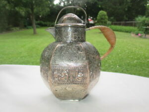 Small Jug Silver Plated Copper Fine Detail Repousse Panoramic Party Scene
