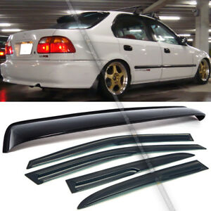 For 96 00 Honda Civic 4dr Sedan Mugen Style Wavy Window Visor Rear Roof Visor