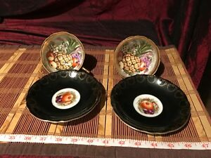 2 Royal Sealy China Cup Saucer Black Gold Fruit Pattern Japan Teacup Set