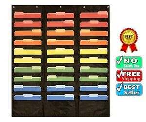 30 Pocket Storage Pocket Chart Hanging Wall File Organizer Office Supplies New