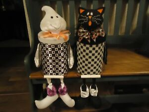 Halloween Cat And Ghost Shelf Or Step Sitters Unusual 20 Lidded And Handles