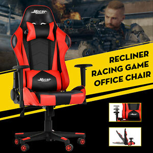 Ergonomic Gaming Racing Style Office Chair High Back Leather Recliner Chair Red