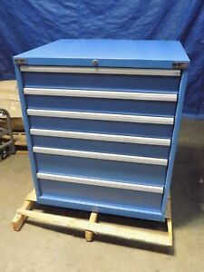 Lista Modular Storage Cabinet 6 drawer 39 X 34 X 28 Steel Blue