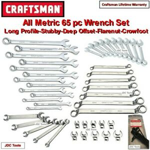 Craftsman 65 Pc All Metric Wrench Set Stubby long deep Offset flare crowfoot