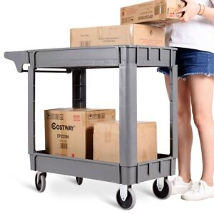 Plastic Utility 2 Shelves Rolling Service Cart Shop Office Warehouse Tray Us
