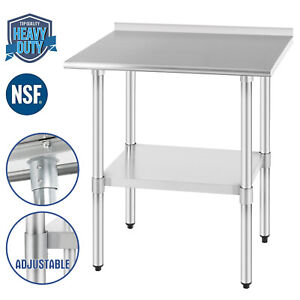 Commercial Food Prep Work Table Kitchen W backsplash 24 x30 Stainless Steel Nsf