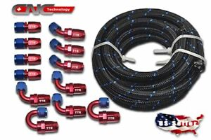 An10 10an 30ft Nylon Steel Braided Oil Fuel Line 12 Fittings Hose End Adaptor