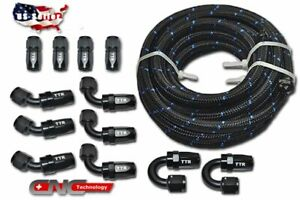 An6 6an 30ft Steel Nylon Braided Oil Fuel Line Hose End 12 Fittings Adaptor Kit