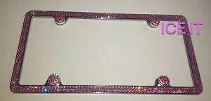 Made W Swarovski Light Pink Baby Crystal License Plate Frame 2 Rows Metal Frame