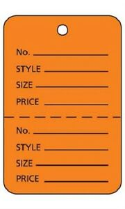 3000 Perforated Tags Price Sale Large 1 X 2 H Two Part Orange Merchandise