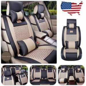 Car Seat Cover Pu Leather Mesh 5 Seats Front Rear Pillows Set Black Beige Size M