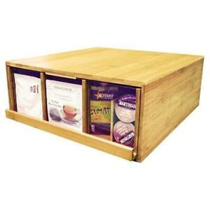 Bamboo Coffee Tea Pod Condiment Display Organizer Case Drawer Bscd